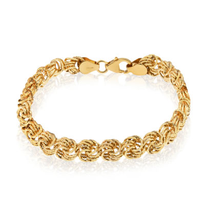 Made In Italy Womens 7 1/2 Inch 14K Gold Chain Bracelet