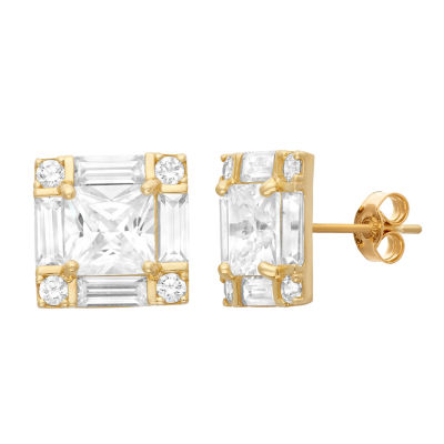 4 CT. T.W. Lab Created White Cubic Zirconia 10K Gold 10.3mm Square Stud Earrings