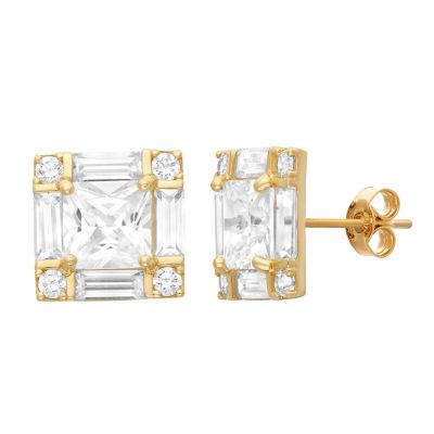 4 CT. T.W. Princess White Cubic Zirconia 10K Gold Stud Earrings