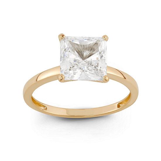 Diamonart Womens 3 CT. T.W. Lab Created White Cubic Zirconia 10K Gold Engagement Ring