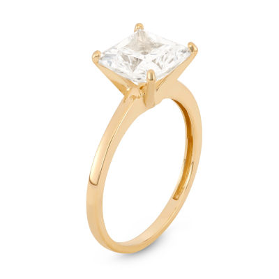 Diamonart Womens 3 CT. T.W. Lab Created Princess White Cubic Zirconia 10K Gold Engagement Ring
