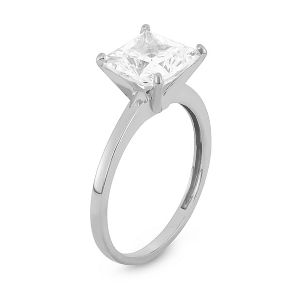 Diamonart Womens 3 CT. T.W. Princess White Cubic Zirconia 10K Gold Engagement Ring
