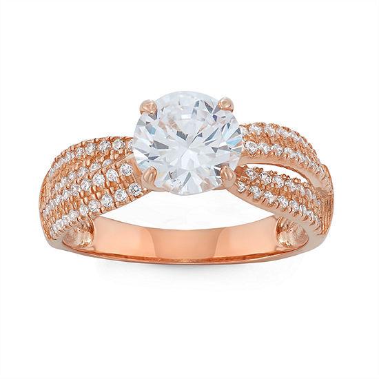 Diamonart Womens 2 1/2 CT. T.W. Lab Created White Cubic Zirconia 10K Gold Engagement Ring