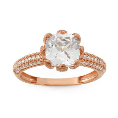 Diamonart Womens 2 1/2 CT. T.W. Lab Created Cushion White Cubic Zirconia 10K Gold Engagement Ring