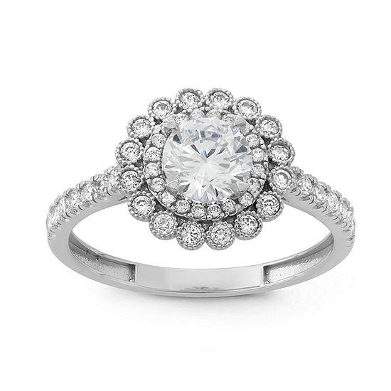 DiamonArt® Womens 1 1/4 CT. T.W. Lab Created White Cubic Zirconia 10K Gold Halo Engagement Ring