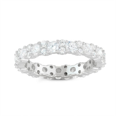 Womens 2 1/4 CT. T.W. White Cubic Zirconia Sterling Silver Eternity Band