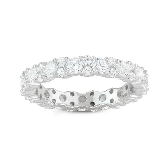 Womens 2 1/4 CT. T.W. White Cubic Zirconia Sterling Silver Eternity Cocktail Ring