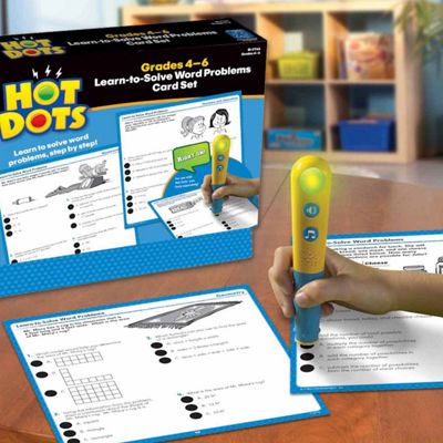 Educational Insights Hot Dots® Learn-to-Solve Word Problems Card Set — Grades 4-6