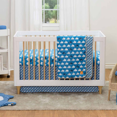 Lolli Living Navy Leaves Crib Bed Skirt