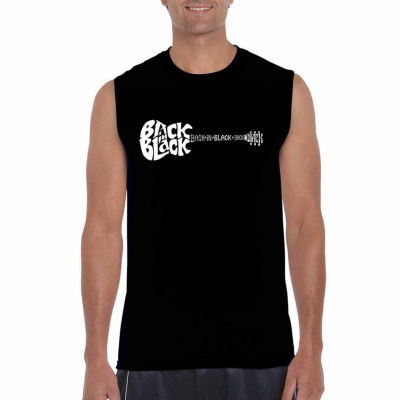 Los Angeles Pop Art Back In Black Sleeveless WordArt T-Shirt  Men's Big and Tall