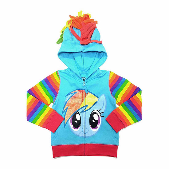 My Little Pony Girls Rainbow Dash Costume Hoodie with Crystalline and 3D Mane and Wings