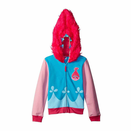 Trolls Girls Princess Poppy Costume Hoodie with Printed Applique Patch and Faux Fur Hood