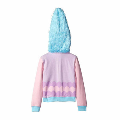 Trolls Girls Satin and Chenille Costume Hoodie with Printed Applique Patch and Faux Fur Hood