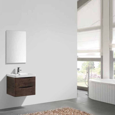 "Moreno Bath Smile  24"" Wall Mounted Modern Bathroom Vanity with 1 Drawer and Reinforced Acrylic Sink"""