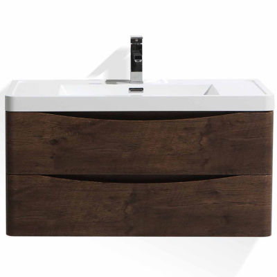 "Moreno Bath Smile  36"" Wall Mounted Modern Bathroom Vanity with 1 Drawer and Reinforced Acrylic Sink"""