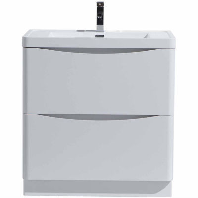 """Moreno Bath Smile 24"""" Free Standing Modern Bathroom Vanity with 2 Drawers and Reinforced Acrylic Sink"""
