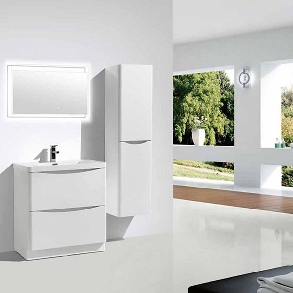 "Moreno Bath Smile 36"" Free Standing Modern Bathroom Vanity with 2 Drawers and Reinforced Acrylic Sink"""