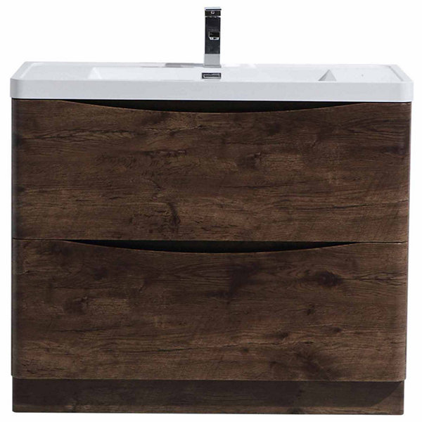 "Moreno Bath Smile 40"" Free Standing Modern Bathroom Vanity with 2 Drawers and Reinforced Acrylic Sink"""