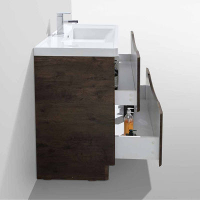 "Moreno Bath Smile 48"" Free Standing Modern Bathroom Vanity with 2 Drawers and Reinforced Acrylic Sink"""