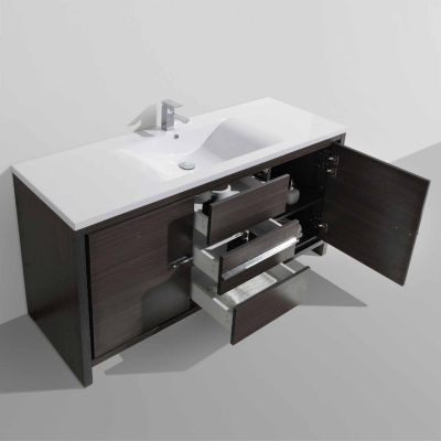 "Moreno Bath MOD 60"" Free Standing Modern BathroomVanity With 2 Doors and 3 Drawers and Single  Acrylic Sink"""