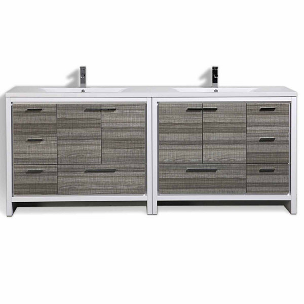 "Moreno Bath MOD 84"" Free Standing Modern Bathroom Vanity with 4 Doors 8 Drawers and Reeinforced Double Acrylic Sink"