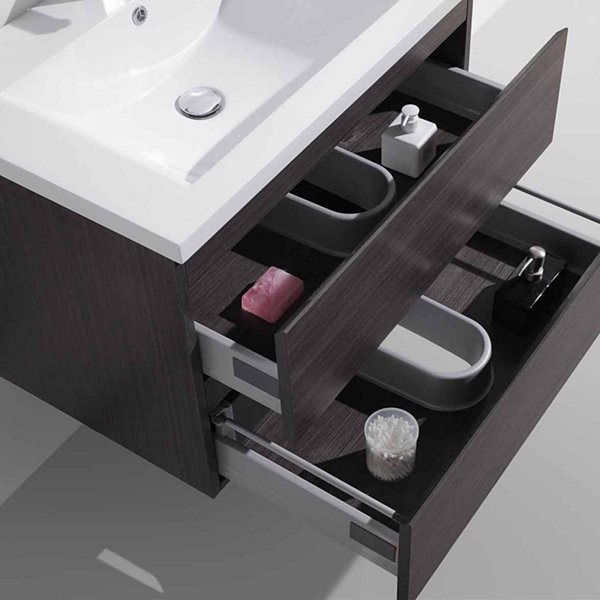 "Moreno Bath MOB 30"" Wall Mounted Modern Bathroom Vanity With Reinforced Acrylic Sink"""