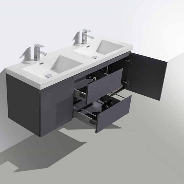 "Moreno Bath MOB 60"" Double Sink Wall Mounted Modern Bathroom Vanity With Reinforced Acrylic Sink"""