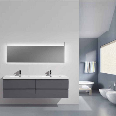 "Moreno Bath MOB 84"" Double Sink Wall Mounted Modern Bathroom Vanity With Reinforced Acrylic Sink"