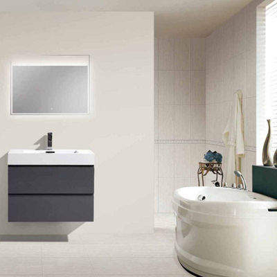 "Moreno Bath MOF 30"" Wall Mounted Modern Bathroom Vanity with Acrylic Sink"""