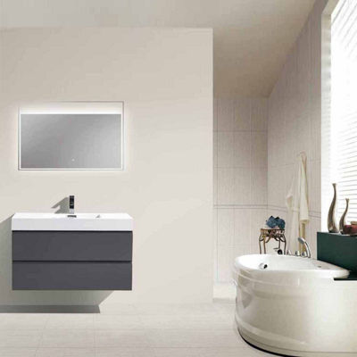 "Moreno Bath MOF 40"" Wall Mounted Modern Bathroom Vanity with Acrylic Sink"