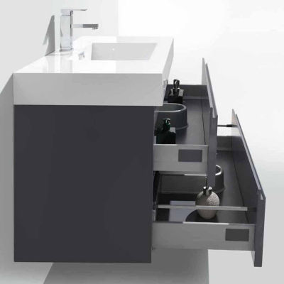 "Moreno Bath MOF 40"" Wall Mounted Modern Bathroom Vanity with Acrylic Sink"""