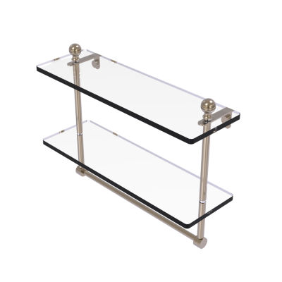 Allied Brass Mambo Collection 16 IN Two Tiered Glass Shelf With Integrated Towel Bar