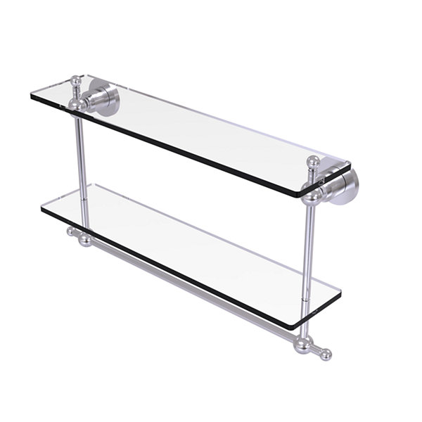 Allied Brass Astor Place Collection 22 IN Two Tiered Glass Shelf With Integrated Towel Bar