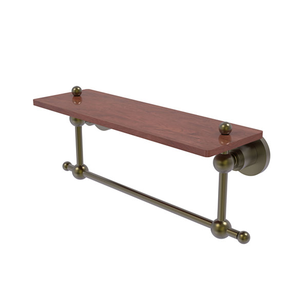 Allied Brass Astor Place Collection 16 IN Solid Ipe Ironwood Shelf With Integrated Towel Bar