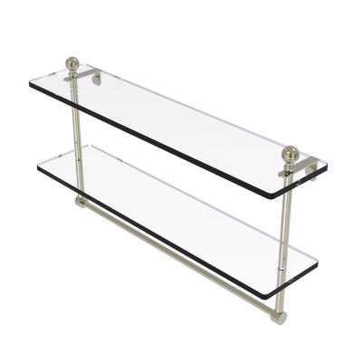 Allied Brass Mambo Collection 22 IN Two Tiered Glass Shelf With Integrated Towel Bar