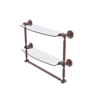 Allied Brass Dottingham Collection 18 IN Two Tiered Glass Shelf With Integrated Towel Bar