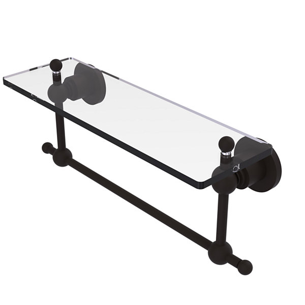 Allied Brass Astor Place 16 IN  Glass Vanity ShelfWith Integrated Towel Bar