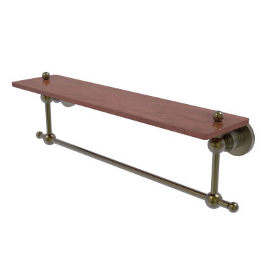 Allied Brass Astor Place Collection 22 IN Solid Ipe Ironwood Shelf With Integrated Towel Bar
