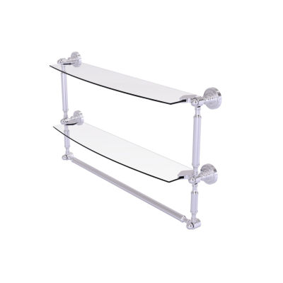 Allied Brass Dottingham Collection 24 IN Two Tiered Glass Shelf With Integrated Towel Bar