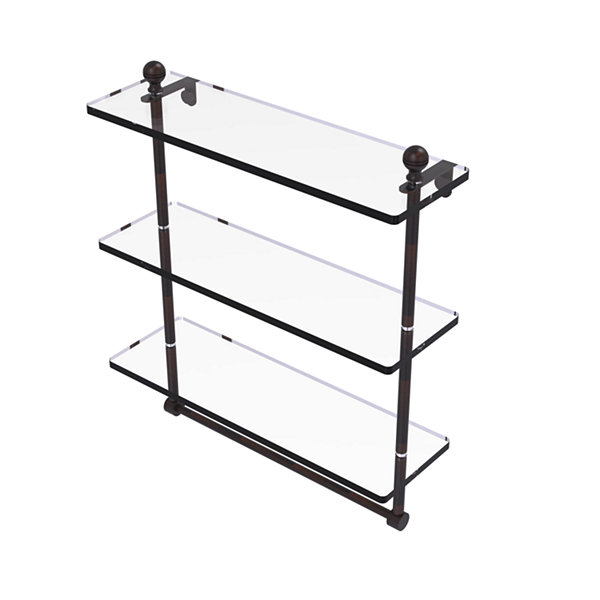 Allied Brass Mambo Collection 16 IN Triple TieredGlass Shelf With Integrated Towel Bar