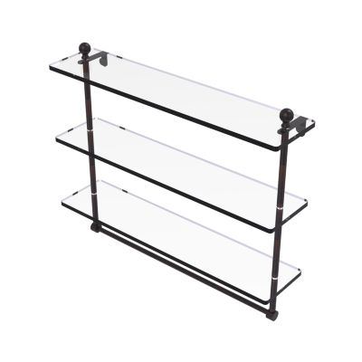 Allied Brass Mambo Collection 22 IN Triple TieredGlass Shelf With Integrated Towel Bar