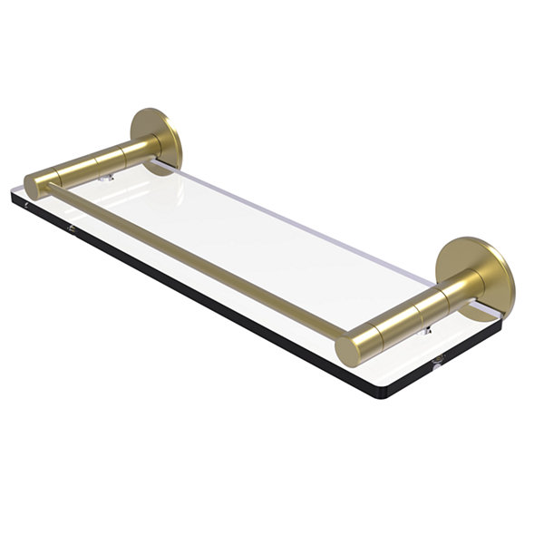 Allied Brass Fresno Collection 16 IN Glass Shelf With Vanity Rail