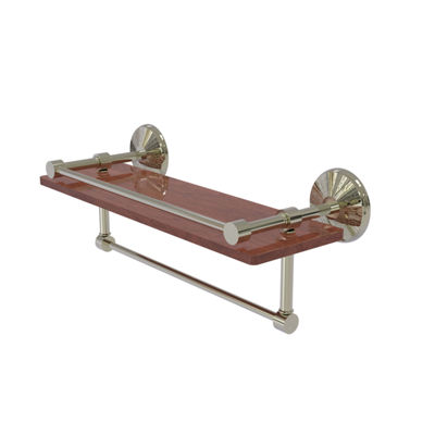 Allied Brass Monte Carlo Collection 16 IN Ipe Ironwood Shelf With Gallery Rail And Towel Bar