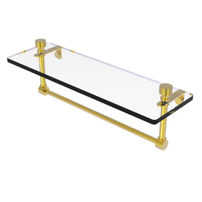 Allied Brass Foxtrot 16 IN  Glass Vanity Shelf  With Integrated Towel Bar