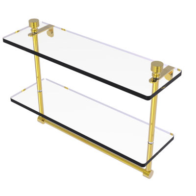 Allied Brass Foxtrot Collection 16 IN Two Tiered Glass Shelf With Integrated Towel Bar