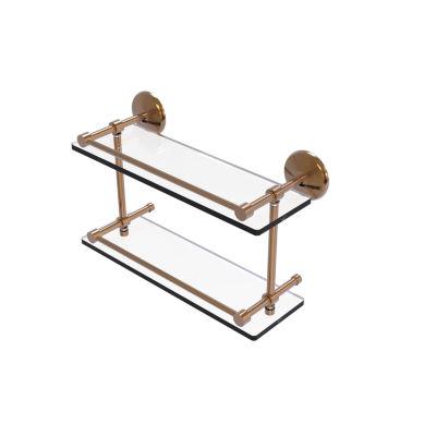 Allied Brass Monte Carlo 16 IN Double Glass ShelfWith Gallery Rail