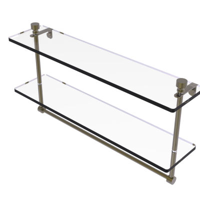 Allied Brass Foxtrot Collection 22 IN Two Tiered Glass Shelf With Integrated Towel Bar