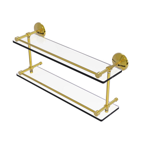 Allied Brass Monte Carlo 22 IN Double Glass Shelf With Gallery Rail