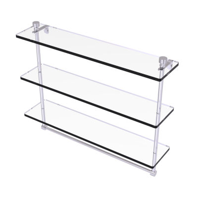 Allied Brass Foxtrot Collection 22 IN Triple Tiered Glass Shelf With Integrated Towel Bar