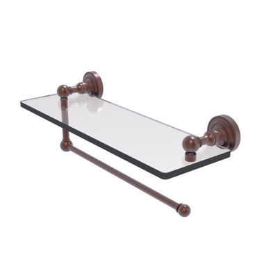 Allied Brass Dottingham Collection Paper Towel Holder With 16 IN Glass Shelf